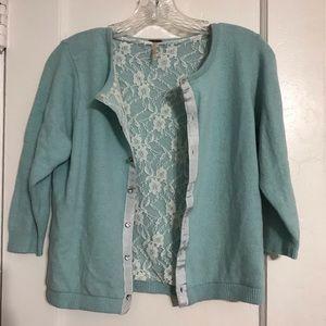 Free People baby blue 3/4 sleeve wool cardigan S